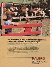 1982 IMC Ralgro Cattle Cow Anabolic Implant Print Ad