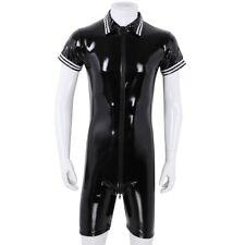 Sexy Men's Wet Look PVC Leather Bodysuit Short Sleeve Front Zipper Club Wear XL