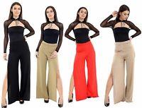Women's High Split Trousers Flared Ladies Slinky Palazzo Pants Side Wide Leg