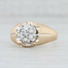 Vintage Men's 0.46ctw Diamond Cluster Ring 10k Gold Size 12.75 Wedding