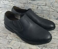 Clarks Collection Men's Slip-On Black Leather Plain Toe Loafers Shoes Size 8 M