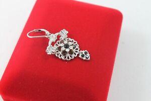Sterling Silver Swarovski Crystals Gem Drop Chandelier Flower Earrings Topaz USA
