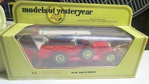 VINTAGE MATCHBOX Y-6 YESTERYEAR ~1920 ROLLS ROYCE FIRE ENGINE - WHITE LADDER