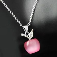Rose Pink Opal Swarovski Crystals Apple Necklace Pendant Chain 18K White Gold GP