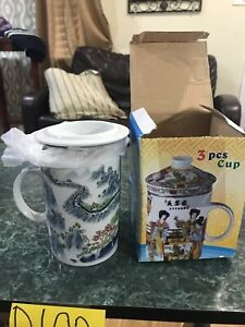 ASIAN 3 PIECE Coffee Mug, Art Deco TEA CUP Set B103