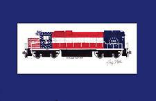 "Boston & Maine Bicentennial GP38-2 11""x17"" Matted Print Andy Fletcher signed"