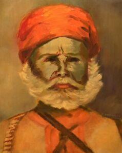 Original Vintage Signed Edith Hamburger Freedom Fighter Portrait Oil Painting