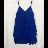 Summer Blue Dress Spaghetti Straps with Ruffles size M
