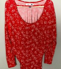 OLD NAVY Women's Maternity Top Plus sx 2X  Red Floral Stretch Ruched Strap Front