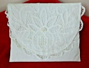 Vintage Handmade BRIDE'S PURSE CLUTCH BAG POCKETBOOK White Lace Front
