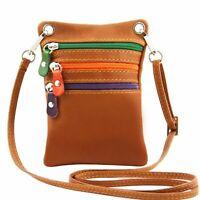 Tuscany Leather Soft Italian Leather Mini Cross Bag in Cognac RRP £28