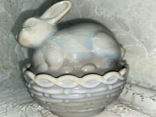 gray milk glass bunny rabbit on nest basket candy butter dish Easter opaque eggs