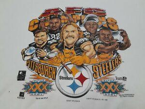 VTG 90s NFL Pittsburgh Steelers 1995 AFL Champions Caricature Sweatshirt Shirt L