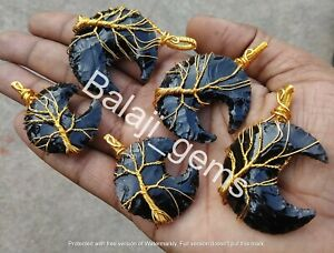 Obsidian Moon Pendent,Crescent Glass Obsidian Pendent,Tree Design Wired pendent