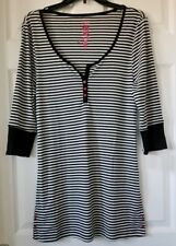 "NWT Women's ""Betsey Johnson"" Black and White Striped Long Sleeved Sleepshirt - M"