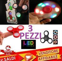 3PZ LED FIDGET SPINNER GIOCO RILASSANTE CUSCINETTO 3D ANTI STRESS TASCABILE HAND