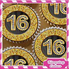 24 x 18TH HAPPY BIRTHDAY BLACK /& DIAMOND EDIBLE CUPCAKE TOPPERS RICE PAPER 8368