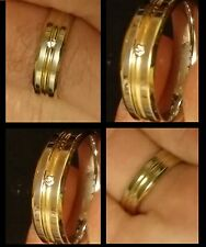 ALLURING HIGH POLISH YELLOW AND SILVER PLATED BRASS RING, SIZE 9