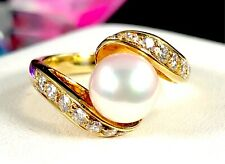 MIKIMOTO 18K GOLD 7.75MM ROSE OVERTONE PEARL .52 CTW VS1 DIAMOND BYPASS RING - 5