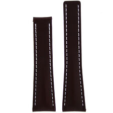 22mm Brown Leather Watch Band Fits Breitling 18mm Deployment buckle