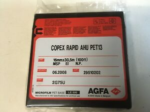 AGFA COPEX RAPID MICROFILM AHU PET13 - 16mm X 30,5m - Exp 06.2008 - Sealed Pkt