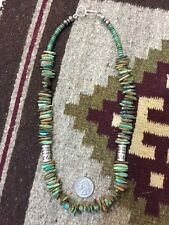 Old Pawn Native Sterling Silver BENCH BEADS NATURAL TURQUOISE NECKLACE DRUM