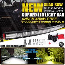 10D Quad-Row 4200W CREE 52Inch CURVED LED Light Bar Flood Spot Car Driving VS 50