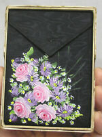 Vtg Ladies Wallet Black w Hand Painted Pink Lavender Flowers