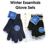 2 in 1 Texting Friendly Gloves Plush Navy & Black/Gray Combo Winter Essentials