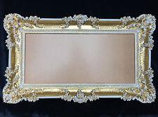 Bilderrahmen Barock Gold-Weiß Hochzeitsrahmen 96x57 Bilderrahmen Groß mit Glas