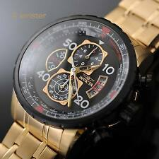 Invicta Aviator Chronograph 18k Gold IP SS Tachymeter Black Dial 48mm Mens Watch