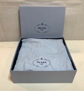 "AUTHENTIC PRADA MILANO EMPTY BOX WITH TISSUE PAPER 13"" x 12"" x 4.5"""