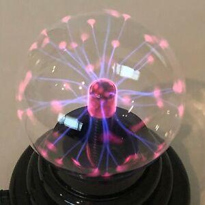 """Plasma Ball Lightning Lamp Desktop Sphere Globe Light Up 5"""" Black Clear Plastic"""