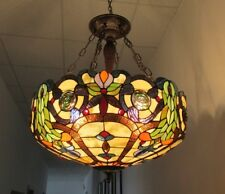 """Tiffany Style Stained Glass Inverted Ceiling Pendant 24"""" Shade Hand-Crafted"""