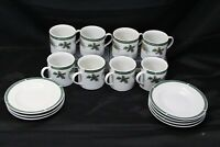 Fairfield Wintergreen 8 Cups 8 Saucers Xmas Lot of 16
