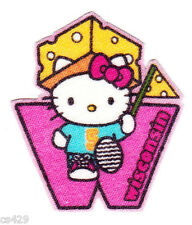 "2"" HELLO KITTY SANRIO STATE OF USA WISCONSIN FABRIC APPLIQUE IRON ON"