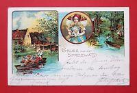 Litho AK SPREEWALD 1901 Forsthaus Kannomühle mit Tracht Volkstracht    ( 23338