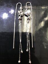 18k White Gold Sexy  Tassle long dangling Earring Earrings 2.90 Grams