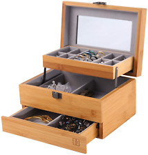 Bamboo Jewelry Box Organizer for women Watch 3 Layers Storage Display Case Gifts