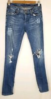 Women's Citizens of Humanity Blue Destroyed Skinny Leg Low Rise Jeans Size 25
