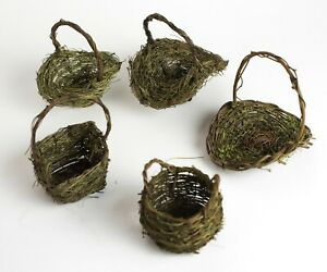 Tiny Baskets Woven with Twig and Moss for Easter, Fairies, Flowers