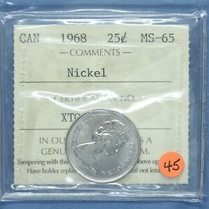 Canada 1968 - Nickel Quarter - Graded MS-65 by ICCS