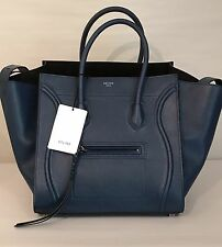 CELINE Phantom Luggage Handbag in Blue Grained Leather