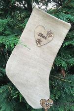 Personalised Christmas Stocking Sack Santa Hessian Jute Wood Heart Xmas Keepsake
