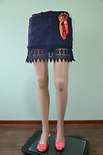 PIAZZA ITALIA Designer Womens Navy Mini Skirt Crochet Embellished sz L Q77