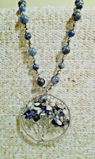 SODALITE BEADS STAINLESS STEEL TREE NECKLACE ( 20 IN) TGW 15.00CTS