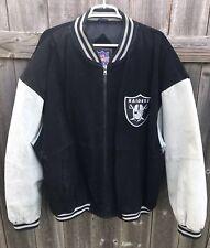 NFL Gameday Oakland Raiders Varsity Jacket Coat Black Gray Suede Football Sz XXL