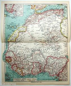 Original 1926 German Map of Northwest Africa by Meyers. Vintage