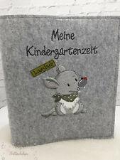 Kindergartenordner Portfolio Ordner mit Doodlestickerei-Wunschnamen Motiv Wolf