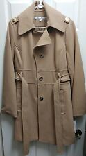 "KENNETH COLE NY ""MELTON"" WOMEN'S Wool TRENCH COAT Size 10 Lt Brown Beechwood NEW"